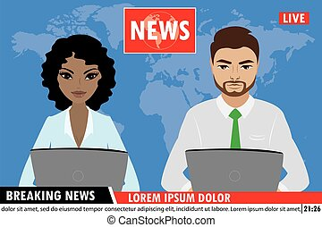 tv, femme, nouvelles, homme, reportage, ancres nouvelles, ancres, rupture