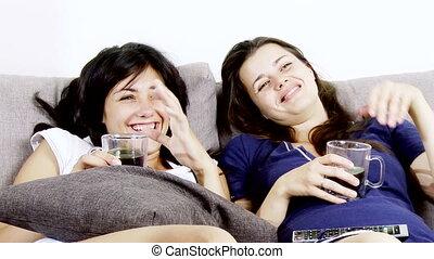 tv, femmes, regarder, rire, heureux