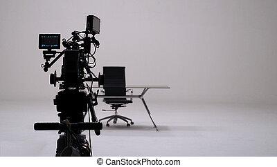 tv, film, set., commercial, enregistrement, appareil photo