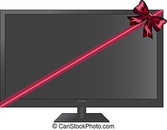 tv, fita, vermelho, presente