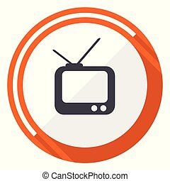 Tv flat design vector web icon. Round orange internet button isolated on white background.