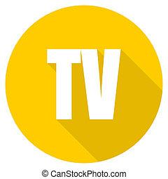 tv flat design yellow web icon