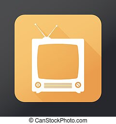 TV  flat icon with long shadow
