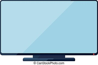TV flat icon with wide screen - TV flat icon with wide blue...