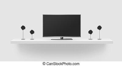 TV flat screen lcd, home theatre realistic illustration,...