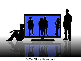 tv, flatscreen, gens