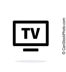tv, flatscreen, icône, simple, arrière-plan., blanc