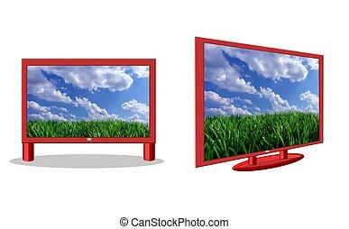tv, flatscreen, isolé