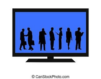 tv, flatscreen, isolé, gens