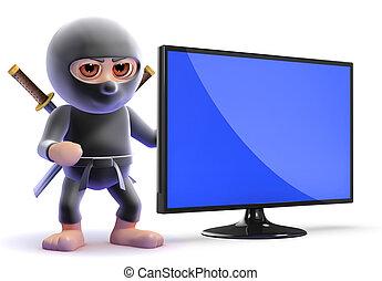 tv, flatscreen, suivant, lcd, ninja, assassin, 3d