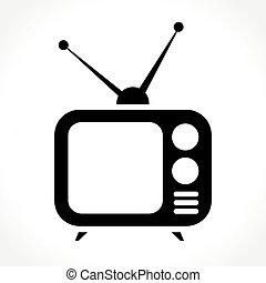 tv, fond blanc, icône
