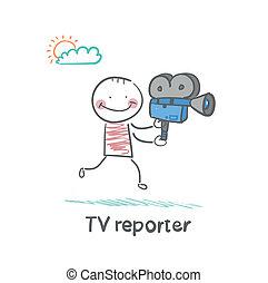 tv, funziona, macchina fotografica, dice, reporter