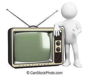 tv, gens., vendange, 3d, blanc