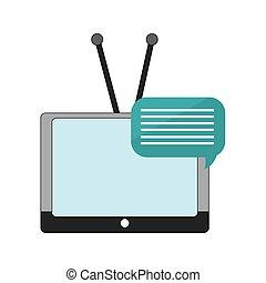 tv, gesprek, bel, antenne, pictogram