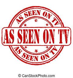 tv, gezien, postzegel