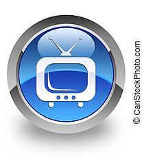 tv, glanzend, pictogram