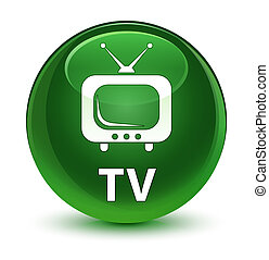 TV glassy soft green round button