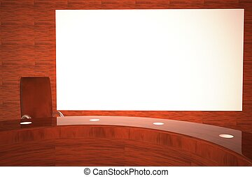 tv, grand écran, studio, blanc