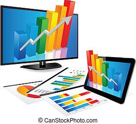 tv, graphique, intelligent, tablette, 3d