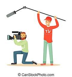 tv, gravando, notícia, trabalho, pessoas