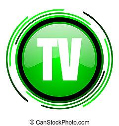 tv green circle glossy icon