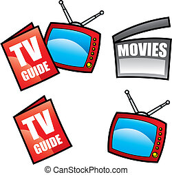 TV Guide, Television and visual media objects isolated on white, vector illustration