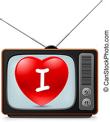 tv, hart, set