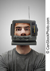 TV Head - A miniature television screen on a person\'s head....