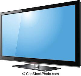 tv, het vlakke scherm