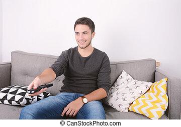 tv, homem, couch., observar