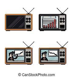 tv, homem negócios, desenho, ilustração