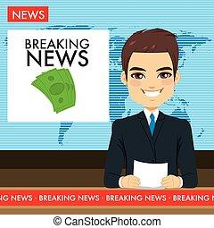 tv, homem, newscaster