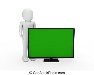 tv, homme, 3d