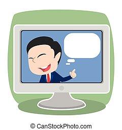 tv, homme affaires, intérieur, callout, asiatique