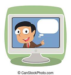tv, homme affaires, intérieur, callout, indien
