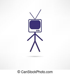 tv, homme, icône