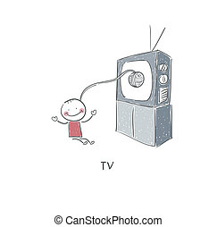 tv, homme