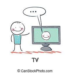 tv, homme, regarder
