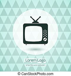 tv, icône, logo
