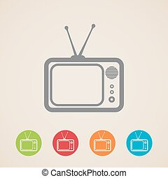 tv, icônes, vecteur