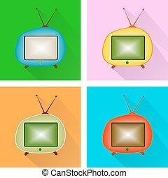 tv, icon., セット, レトロ, ベクトル