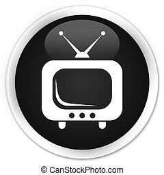 TV icon black glossy round button