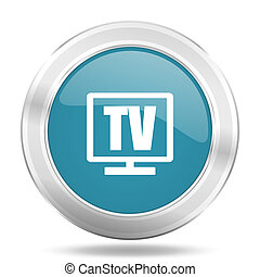 tv icon, blue round glossy metallic button, web and mobile app design illustration