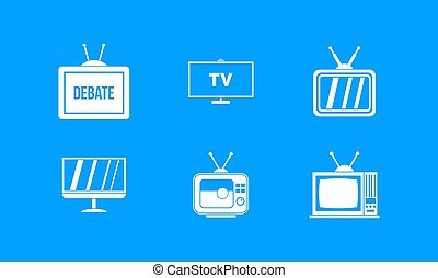 Tv icon blue set