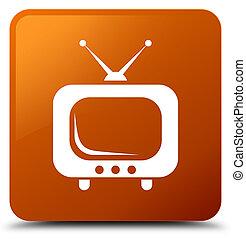 TV icon brown square button