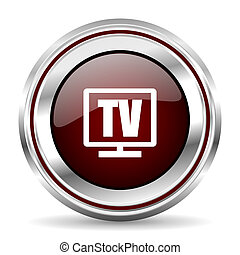tv icon chrome border round web button silver metallic pushbutton