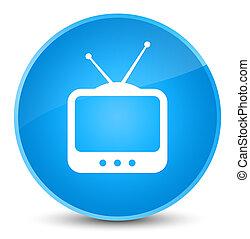 TV icon elegant cyan blue round button