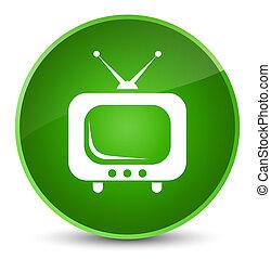 TV icon elegant green round button