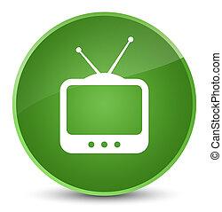 TV icon elegant soft green round button