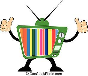 tv, icon., ensemble, retro, vecteur
